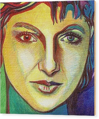 Colorful Lady Wood Print by Jerry  Stith