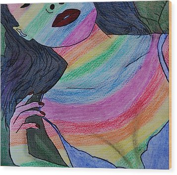 Colorful Lady Wood Print by Lucy Frost