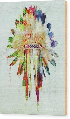 Colorful Lakota Sioux Headdress Wood Print by Olga Hamilton