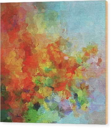 Wood Print featuring the painting Colorful Landscape Art In Abstract Style by Ayse Deniz