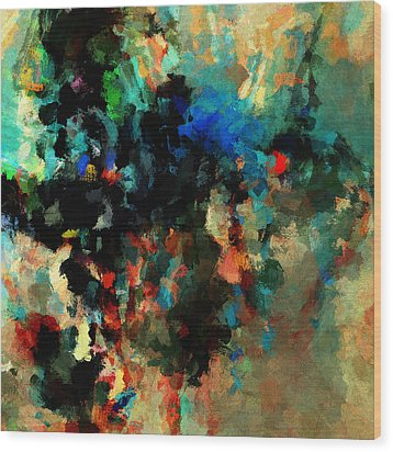 Wood Print featuring the painting Colorful Landscape / Cityscape Abstract Painting by Ayse Deniz