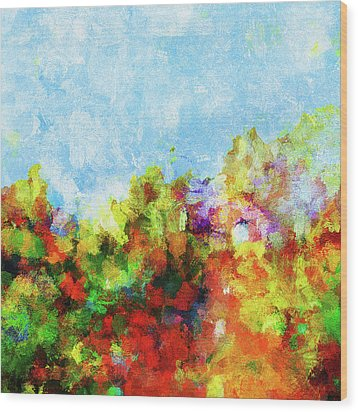 Wood Print featuring the painting Colorful Landscape Painting In Abstract Style by Ayse Deniz