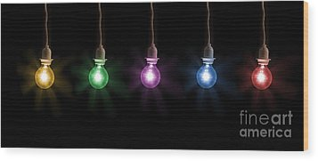 Colorful Light Bulbs Wood Print by Sharon Dominick
