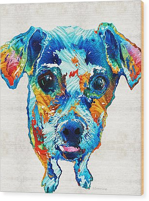 Colorful Little Dog Pop Art By Sharon Cummings Wood Print by Sharon Cummings