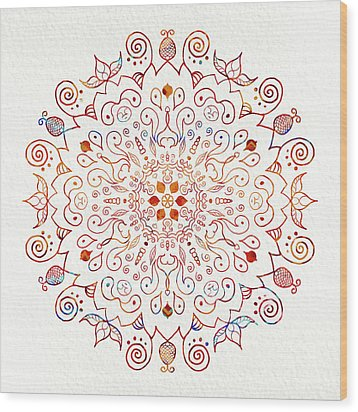 Colorful Mandala On Watercolor Paper Wood Print