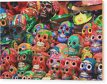 Colorful Mexican Day Of The Dean Ceramic Skulls Wood Print