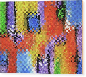 Colorful Modern Art - Pieces 11 - Sharon Cummings Wood Print by Sharon Cummings