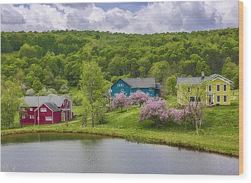 Wood Print featuring the photograph Colorful Mountain Homes by Paula Porterfield-Izzo