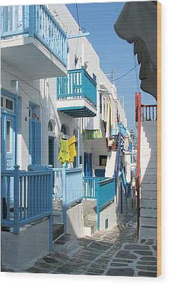 Wood Print featuring the photograph Colorful Mykonos by Carla Parris