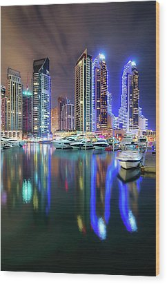 Colorful Night Dubai Marina Skyline, Dubai, United Arab Emirates Wood Print