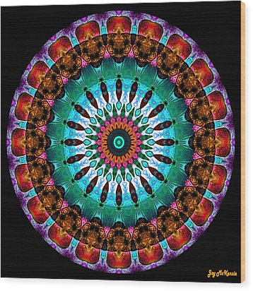 Colorful No. 9 Mandala Wood Print by Joy McKenzie