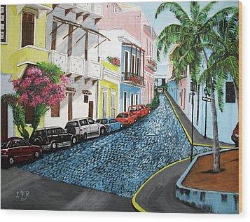 Colorful Old San Juan Wood Print by Luis F Rodriguez