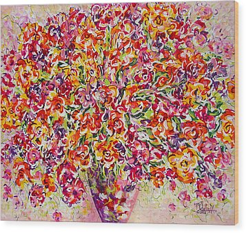 Wood Print featuring the painting Colorful Organza by Natalie Holland
