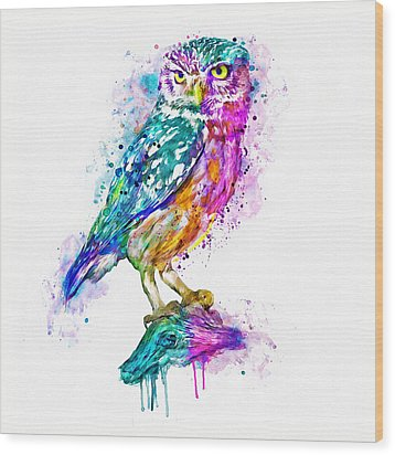 Colorful Owl Wood Print