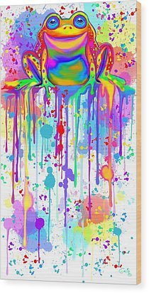 Wood Print featuring the painting Colorful Painted Frog  by Nick Gustafson