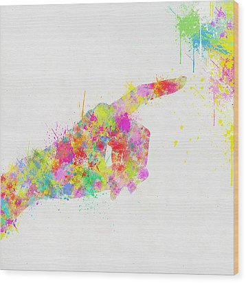 Colorful Painting Of Hand Pointing Finger Wood Print by Setsiri Silapasuwanchai