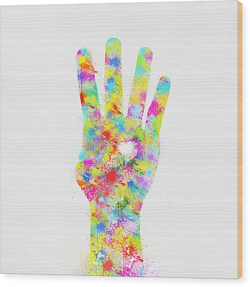 Colorful Painting Of Hand Pointing Four Finger Wood Print by Setsiri Silapasuwanchai