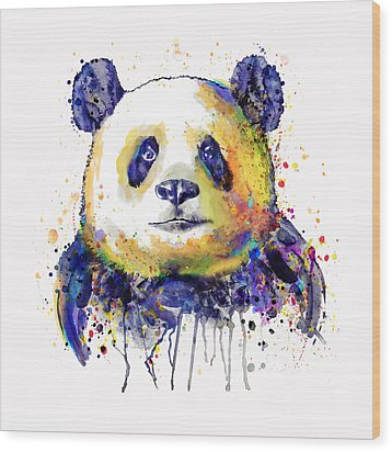 Wood Print featuring the mixed media Colorful Panda Head by Marian Voicu
