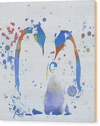Wood Print featuring the painting Colorful Penguin Family by Dan Sproul
