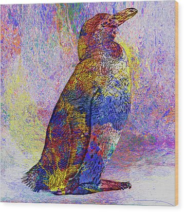 Colorful Penguin Wood Print