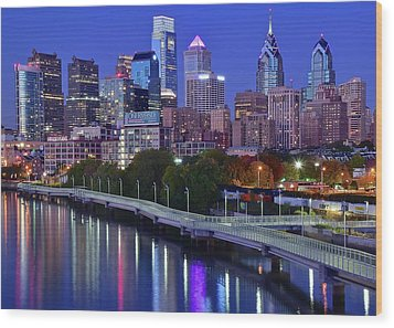 Wood Print featuring the photograph Colorful Philly Night Lights by Frozen in Time Fine Art Photography