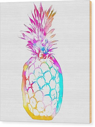 Colorful Pineapple Wood Print by Dan Sproul