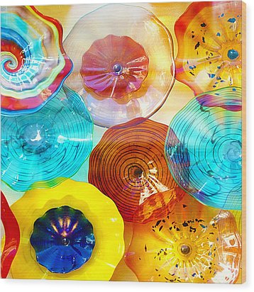 Colorful Plates Wood Print by Artist and Photographer Laura Wrede