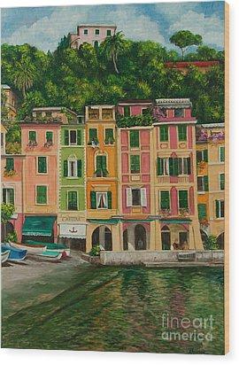 Colorful Portofino Wood Print by Charlotte Blanchard