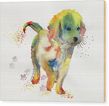 Colorful Puppy Watercolor - Little Friend Wood Print by Melly Terpening