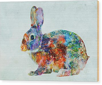 Colorful Rabbit Art Wood Print by Olga Hamilton