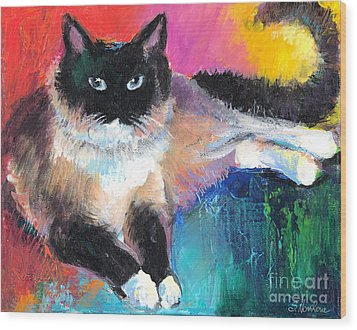 Colorful Ragdoll Cat Painting Wood Print by Svetlana Novikova