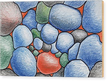 Colorful Rock Abstract Wood Print by Nancy Mueller