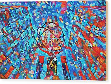 Wood Print featuring the painting Colorful Rockefeller Center Atlas by Dan Sproul