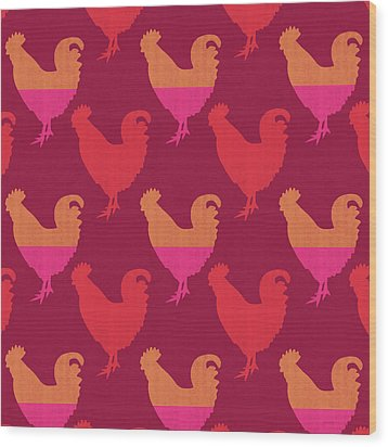 Colorful Roosters- Art By Linda Woods Wood Print by Linda Woods