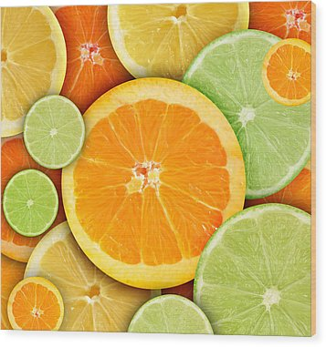 Colorful Round Citrius Fruit Background Wood Print by Angela Waye