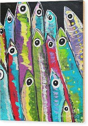 Colorful Sardines Wood Print by Scott D Van Osdol