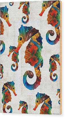 Colorful Seahorse Collage Art By Sharon Cummings Wood Print by Sharon Cummings