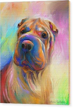 Colorful Shar Pei Dog Portrait Painting  Wood Print by Svetlana Novikova