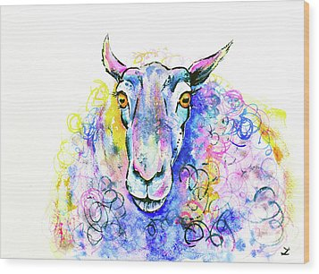 Wood Print featuring the painting Colorful Sheep by Zaira Dzhaubaeva