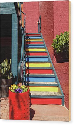 Wood Print featuring the photograph Colorful Stairs by James Eddy