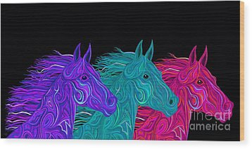 Wood Print featuring the drawing Colorful Stallions  by Nick Gustafson