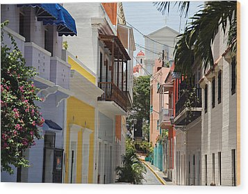 Colorful Streets Of Old San Juan Wood Print by George Oze