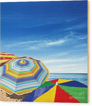 Colorful Sunshades Wood Print by Carlos Caetano