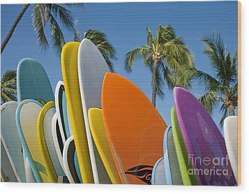 Colorful Surfboards Wood Print by Ron Dahlquist - Printscapes