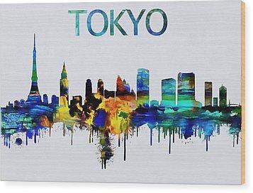 Colorful Tokyo Skyline Silhouette Wood Print
