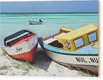 Colorful Traditional Fishing Boats Wood Print by George Oze