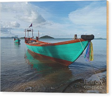 Colorful Turquoise Boat Near The Cambodia Vietnam Border Wood Print by Jason Rosette