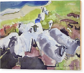 Colorful Waiting Sheep Wood Print