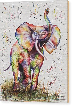 Wood Print featuring the painting Colorful Watercolor Elephant by Georgeta Blanaru