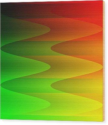 Wood Print featuring the digital art Colorful Waves by Kathleen Sartoris